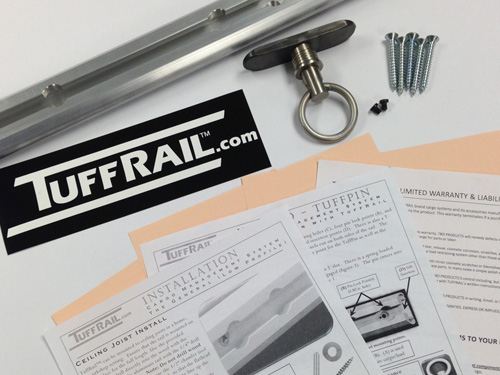 "TuffRail Overhead Rail System 50/"" Rail with 16/"" Joist Spacing"