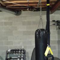 Heavy bag and TRX on a 8' TuffRail